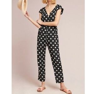 Anthropologie Wrapped Jumpsuit Polka